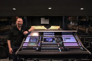 Civic Center Music Hall A1/FOH Engineer Matthew Anderson at the venue's new DiGiCo SD7T house desk