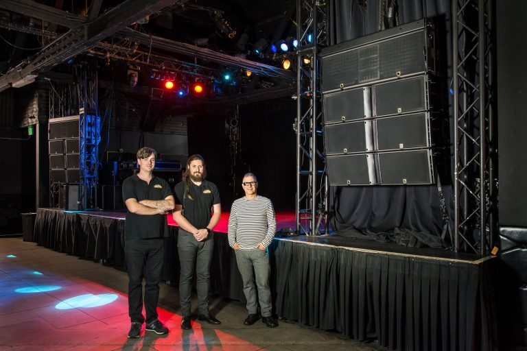 (L-R) 1.61 Productions' Patrick Mundy and Steven Cobilich with Spaceland Presents' Mitchell Frank at Echoplex's K2, K1-SB and KS28-equipped stage