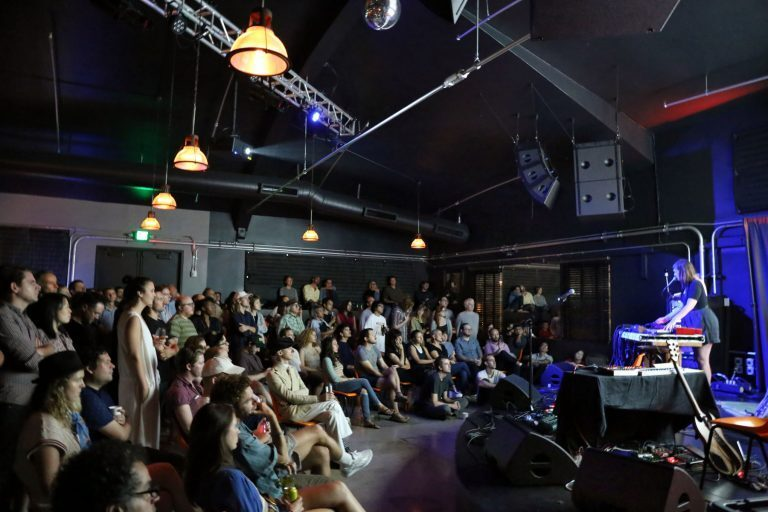 Julianna Barwick performing at Zebulon on L-Acoustics X12 stage wedges and ARCS WiFo and SB18i arrays