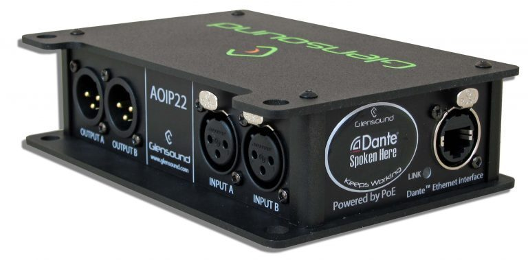 Glensound Announces AoIP22 Dante/ AES67 Two Channel Bi-Directional Audio Interface