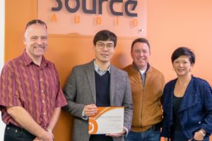 AS Audio's Alex Schloesser with Jesse Park of Capstone, and Point Source Audio's James Lamb and Yvonne Ho