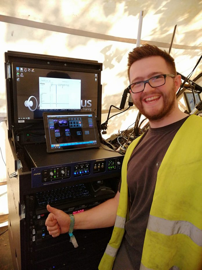 Audio Plus System Tech Kris Hayes giving his approval of the new XTA MX36 on Glastonbury's Glade Stage