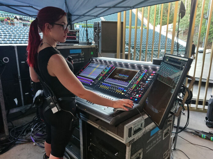 Loreen Bohannon mixing monitors for Lizzo on Clair's DiGiCo SD12 96 desk