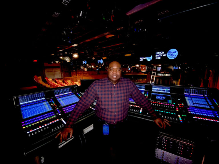 Artless Poole, Jr. at the Quantum engine-equipped DiGiCo SD7 house mixing console and EX-007 fader expansion unit in Rockefeller Center's Studio 6B, home to The Tonight Show Starring Jimmy Fallon (photo credit: Fred Bock)