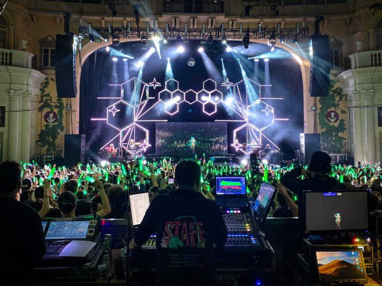 Hatsune Miku holographic icon performs through Martin Audio MLA